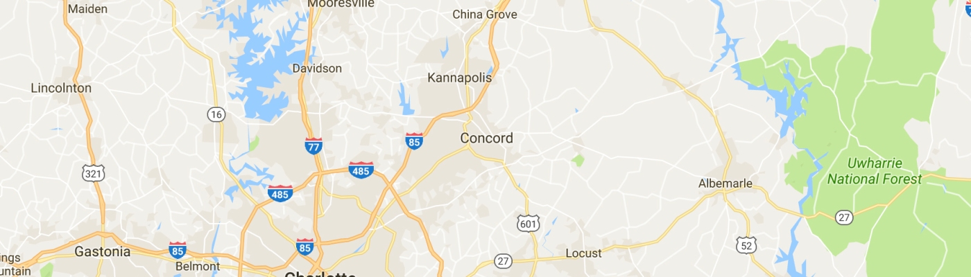 Map of Charlotte, Concord, and Mooresville, North Carolina.